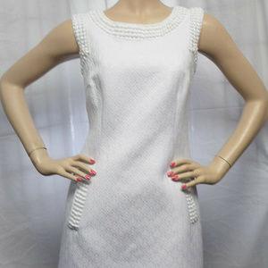WHITE CROCHET TRIM TEXTURED CAREER COCKTAIL DRESS